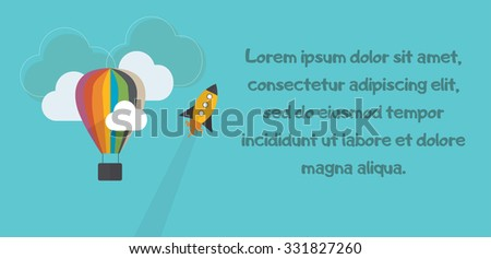 Hot air balloon and rocket on blue background with clouds and blue words - stock vector