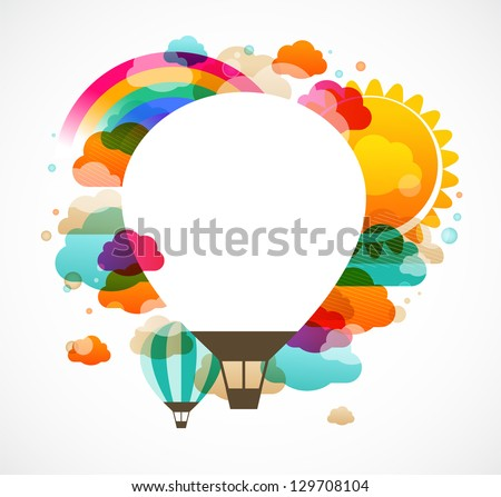 hot air balloon, colorful abstract vector background - stock vector
