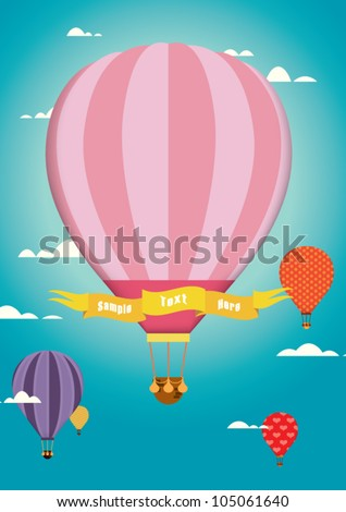 hot air balloon / cute design / colorful hot air balloon on the blue sky / template / colorful - stock vector