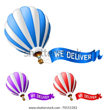 hot air balloon delivery icon - stock vector