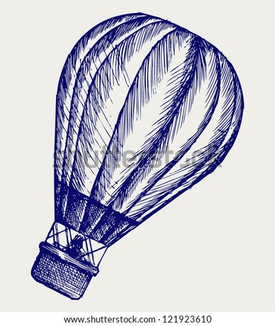 Hot air balloon. Doodle style - stock vector