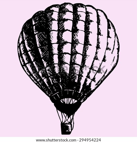 hot air balloon, doodle style, sketch illustration - stock vector