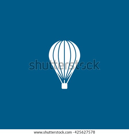 Hot Air Balloon Flat Icon On Blue Background