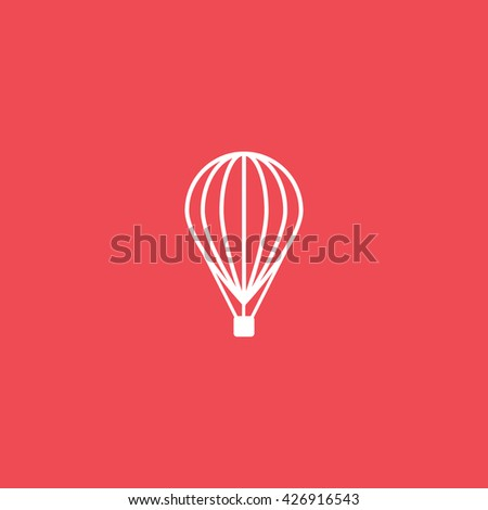 Hot Air Balloon Flat Icon On Red Background