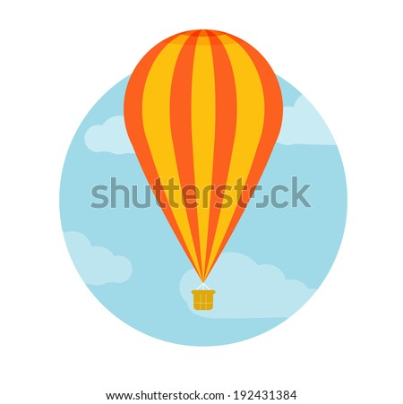 Hot air balloon flying. Icons of traveling, planning a summer vacation, tourism and journey objects