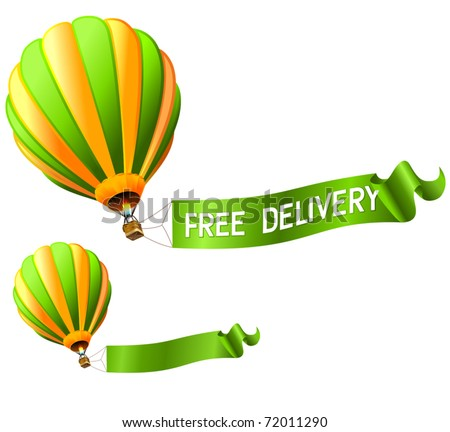 hot air balloon FREE DELIVERY sign - stock vector