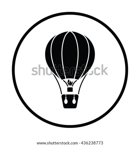 Hot air balloon icon. Thin circle design. Vector illustration.