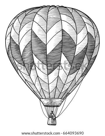 hot air balloon illustration drawing engraving ink line art vector