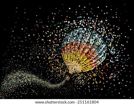 Hot air balloon in the sky vector.Abstract circles - stock vector