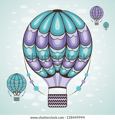 Hot air balloon in the sky. Vector illustration