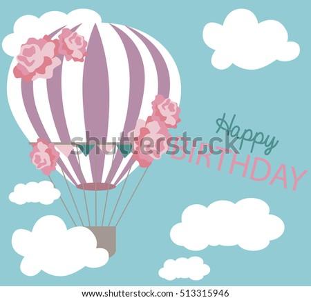 Hot air balloon invitation card birthday stock vector royalty free hot air balloon invitation card rthday invitationctor illustration stopboris Choice Image
