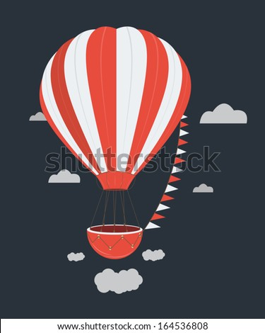 Hot air balloon isolated background black - stock vector