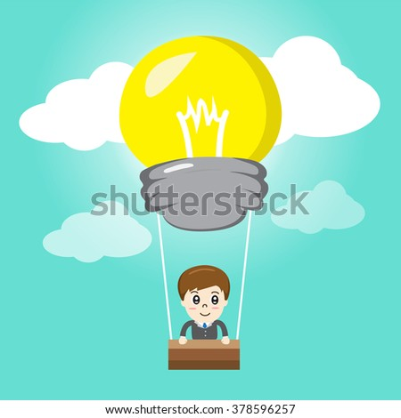 hot air balloon light bulb idea - vector illustration