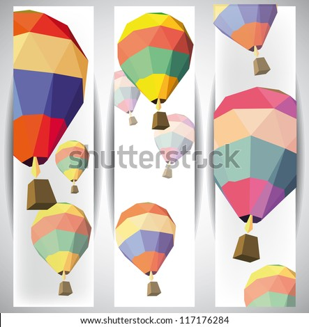 hot air balloon on the web banners eps 10 - stock vector