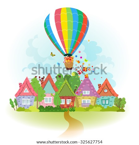 hot air balloon over the city with gifts - stock vector