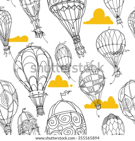 Hot Air Balloon Pattern White and Gold - stock vector