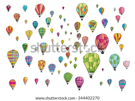 hot air balloon race - cartoon - stock vector