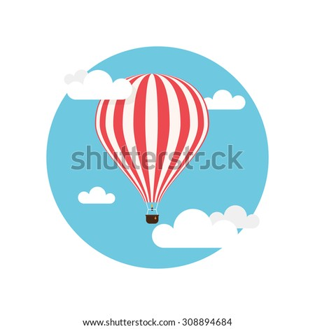 Hot air balloon, red and white stripes colored, flying in the clouds, flat background - stock vector