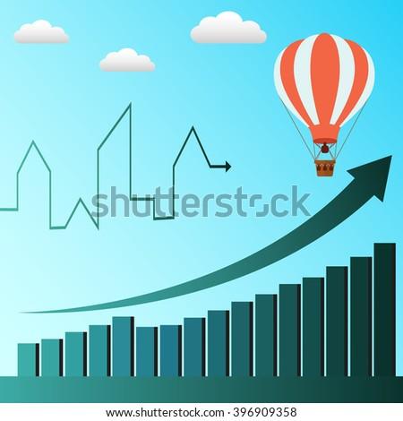 Hot air balloon symbolizes business profit rising vector concept - stock vector