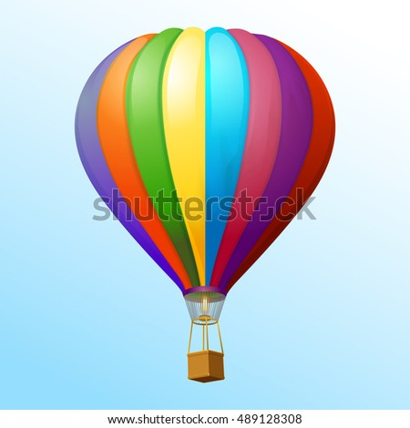 Hot air balloon vector icon. Hot air balloon isolated in white background.