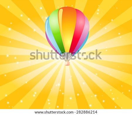 Hot Air Balloon with Captivating Background - stock vector