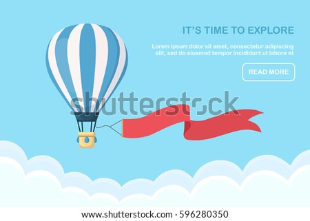 Hot air balloon with ribbon in the sky with clouds. Travel time. Flat cartoon design. Vector illustration