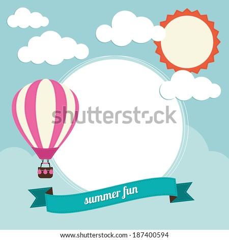 Hot air balloon with text box - stock vector