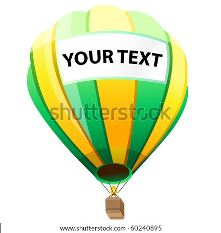 Hot Air Balloon with your text - stock vector