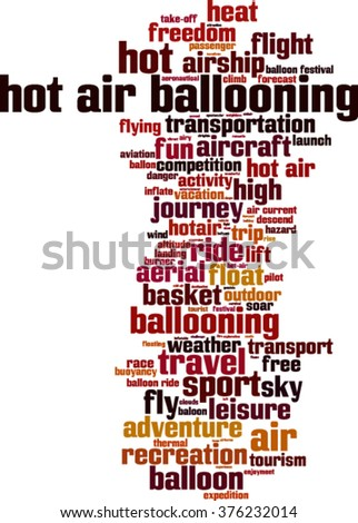 Hot air ballooning word cloud concept. Vector illustration