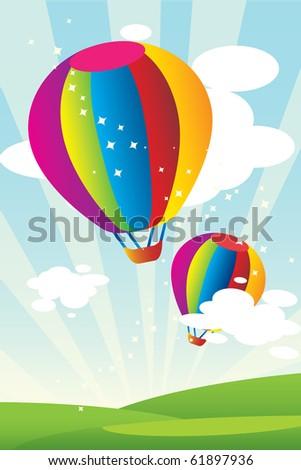 Hot air balloons - stock vector