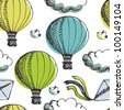 Hot Air Balloons and birds background - stock photo