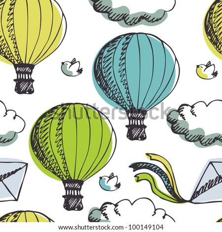 Hot Air Balloons and birds background - stock vector