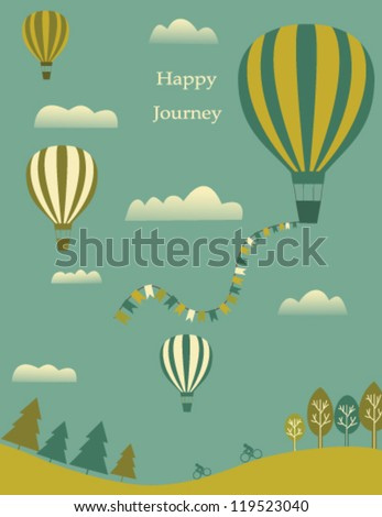 Hot air balloons and clouds in the sky. Vector - stock vector