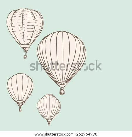 hot air balloons background drawing. vector illustration - stock vector