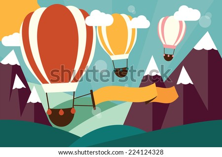 Hot air balloons flying over mountains with banner, vector illustration - stock vector