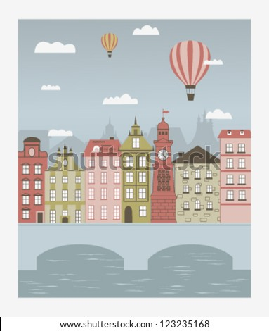 Hot air balloons flying over the little town with a bridge. Vector - stock vector