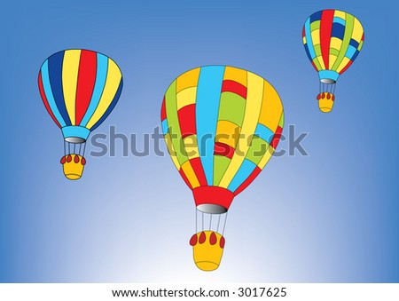 Hot-air balloons in the blue sky (vector)