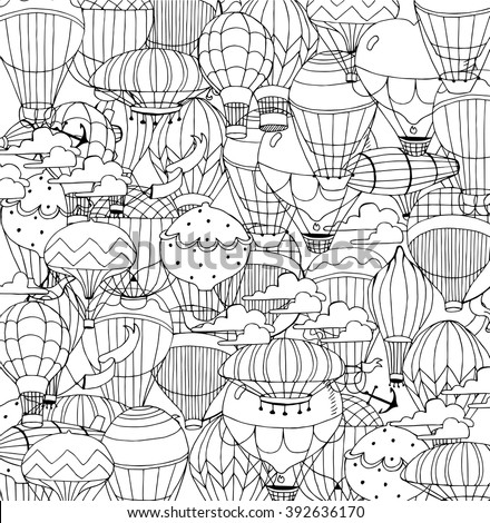 Hot Air Balloons in the sky. Coloring page in retro style. - stock vector
