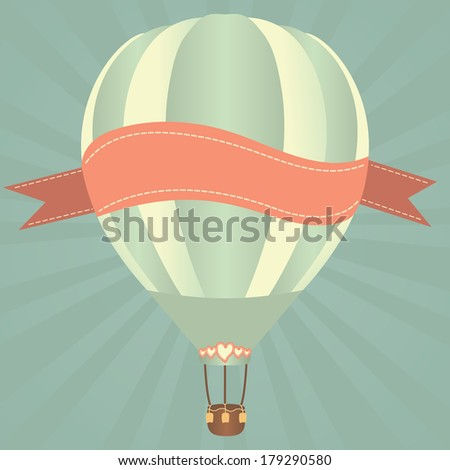 Hot air balloons in the sky. Vector illustration. Greeting card background - stock vector