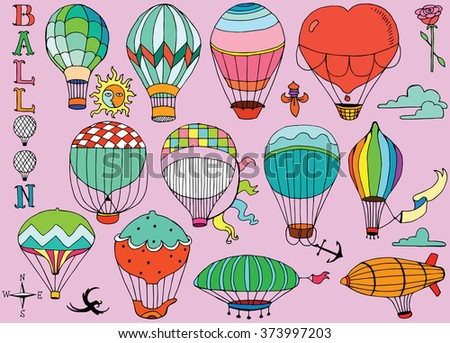 Hot Air Balloons in the sky with text