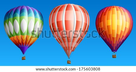 Hot air balloons, isolated on blue, set three, EPS 10, contains transparency. - stock vector