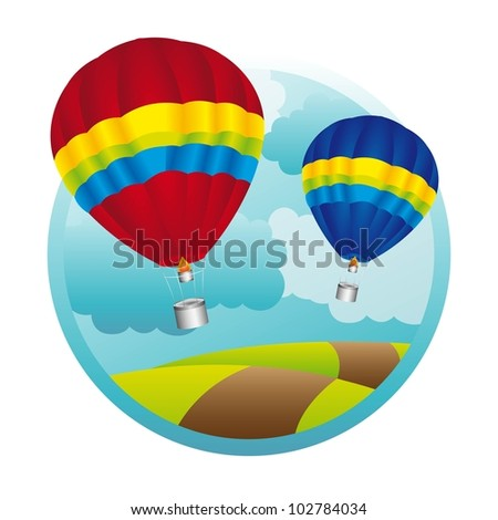 hot air balloons over mountaings background. vector illustration