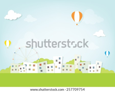 Hot air balloons over the city - stock vector