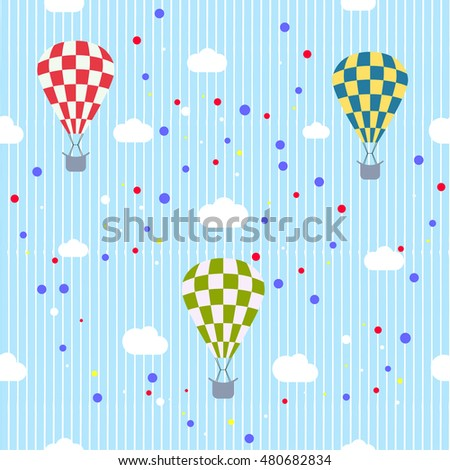 Hot air balloons. seamless pattern. vector illustration.