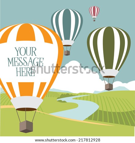 hot air balloons with copy space EPS 10 vector - stock vector