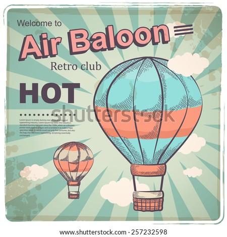 Hot air baloon retro poster - stock vector