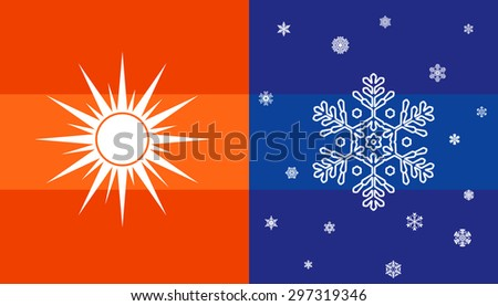 Hot Cold Sun Snowflake Climate Symbol Stock Vector 297319346