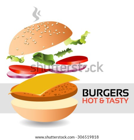 Hot and tasty flying burger stock vector