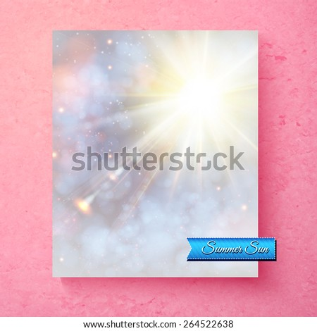 Hot bright white summer sunburst in a soft ethereal sky with muted colors and sparkling bokeh with a turquoise banner saying - Summer Sun - over a textured pink background, vector illustration - stock vector