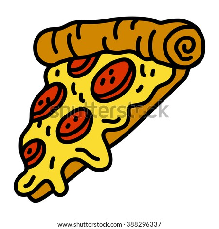 Hot Cartoon Pizza Slice with Pepperoni Meat and Yellow Cheese vector icon